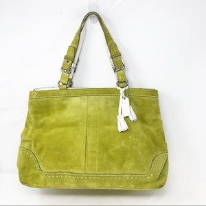 Coach lime green white gallery suede tote bag
